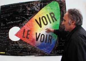 Rencontre entre le graphiste et artiste Gérard Paris-Clavel et le cinéaste et réalisateur de télévision Raoul Sangla autour de l'exposition de Gérard Paris-Clavel à Chaumont.